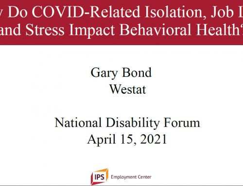 COVID-19, Unemployment, and Behavioral Health